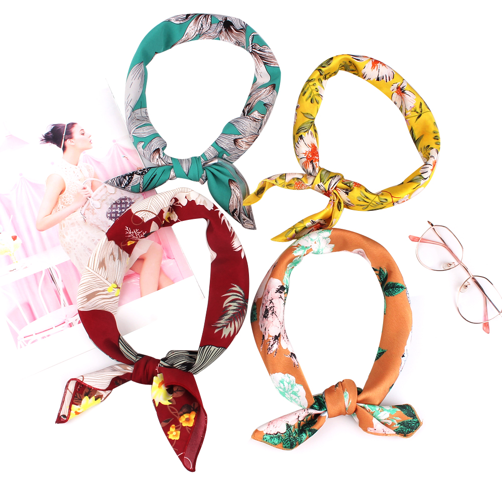 Soft Square Scarf For Women New Print Pocket Square Brand Fashion Head Scarf Chiffon Head Wear Floral Hanky Scarves Handkerchief