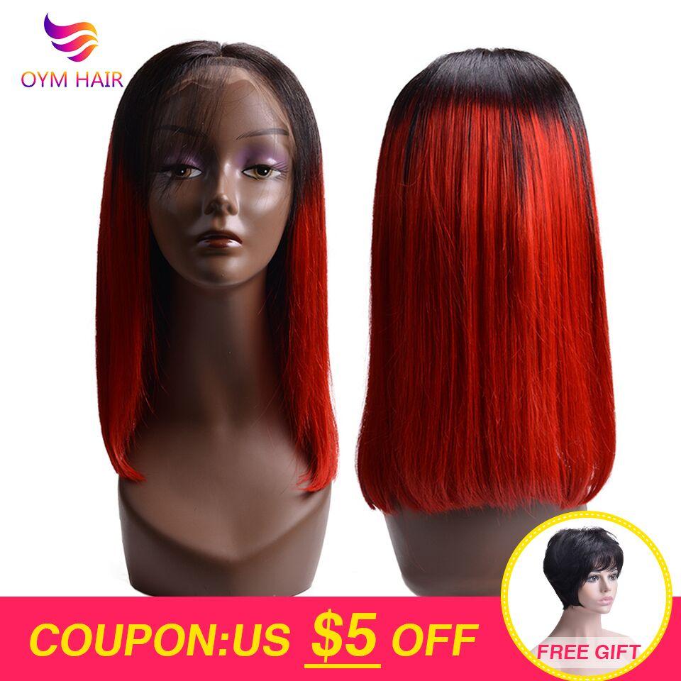 OYM HAIR 13x4 Lace Front Human Hair Wigs For Black Women Brazilian Non-Remy Hair 150% Short Human Hair Bob Wigs With Baby Hair