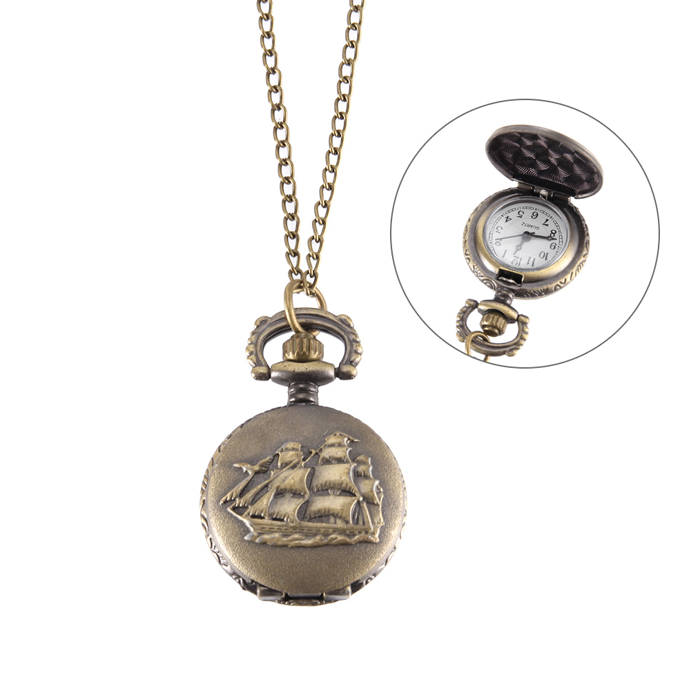 New Vintage Pocket Watch Bronze Color Quartz Watch Cool Chain Sailboat Pattern Watches MV66