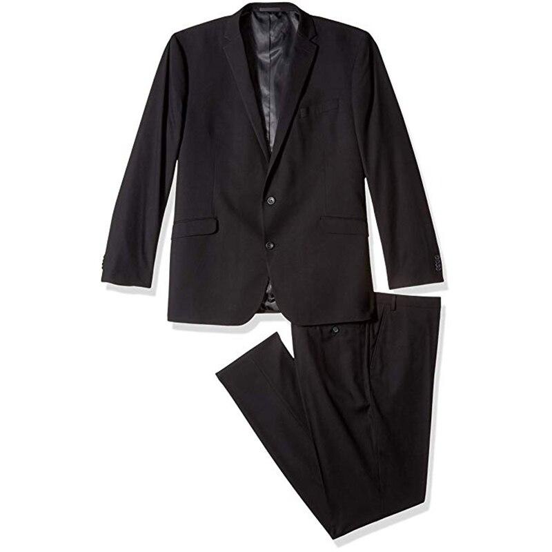 Black Notch Lapel Men Suit Groomsman Relaxed Loose Style Male Business Suit Two Pieces Suit (Jacket+Pant)