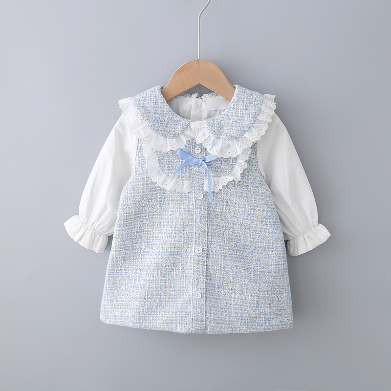 New Spring Baby Girls Sweet Bow Brim A Word Dress Lace Collar Delicate Princess Dress Kids Baby Girls Choths