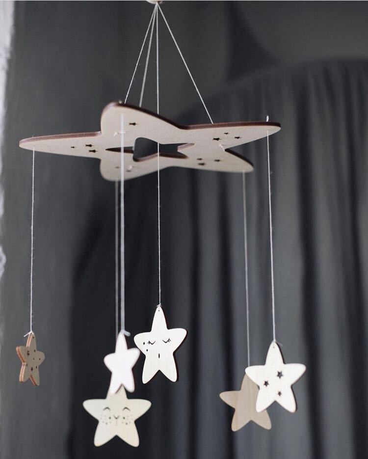 60cm*23cm DIY Ins Nordic Wind Wooden Star ChimesDecor Banner Baby Room Decoration Bedding Bumpers Kids Party Balls