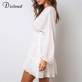 Пикантное женское летнее платье DICLOUD с V-образным вырезом, белое кружевное вечернее мини-платье с длинным рукавом, элегантная одежда с оборками на осень 2020 3
