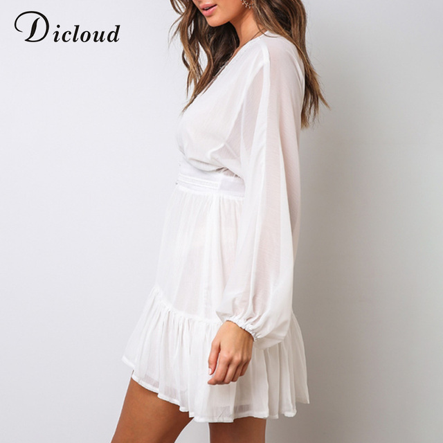 DICLOUD Sexy Plunge V Neck Women's Summer Dress White Lace Long Sleeve Mini Wedding Party Dress Ruffle Elegant Clothes 2021 4