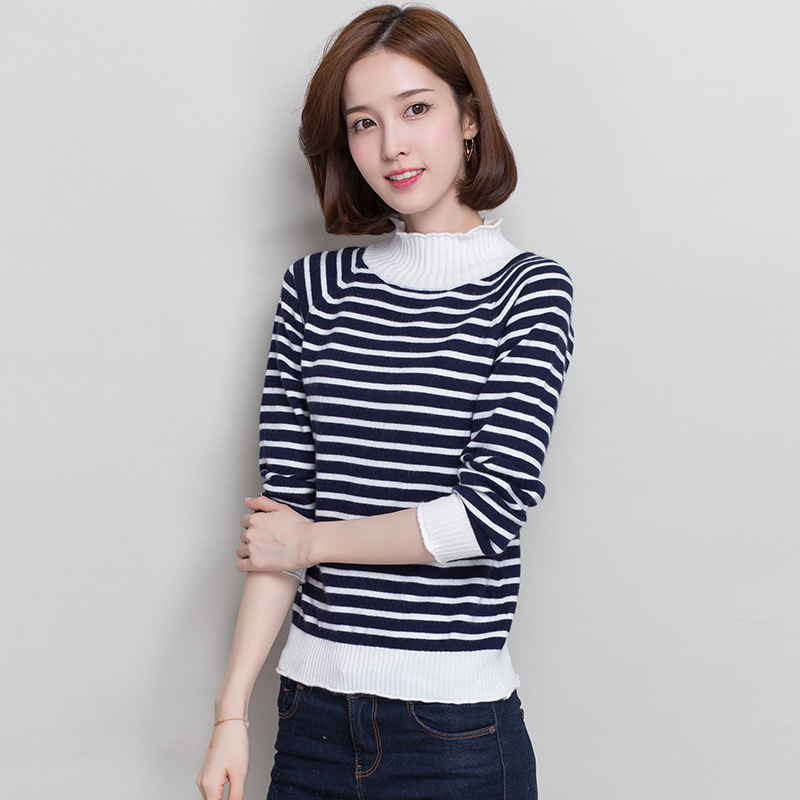 2019 New Autumn Sweater Women Semi high Collar Cashmere Sweater Striped Pullover Base Slim Sweater Pullovers Women Sweater in Pullovers from Women 39 s Clothing