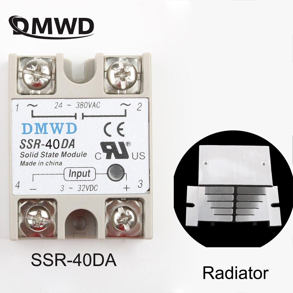 Промышленные твердотельные реле SSR 40A с защитным флагом, с контролем постоянного тока на 40 А, радиатор радиатора переменного тока