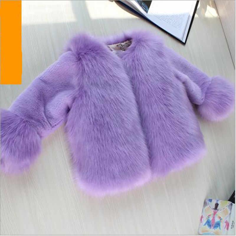 2019 Otoño e Invierno nueva ropa de bebé para niños abrigo de piel sintética de piel de zorro para niñas coreanas abrigo de un solo pecho QV338