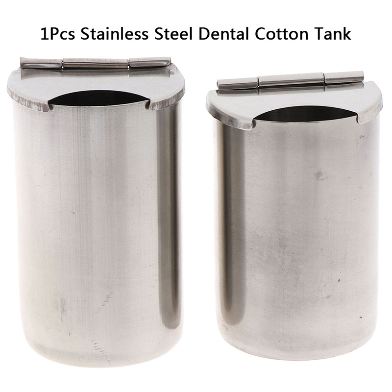 1X Dental Medical Cotton Tank Alcohol Disinfection Container Jar Stainless Steel Oral Cylinder Tank Holder Dental Material