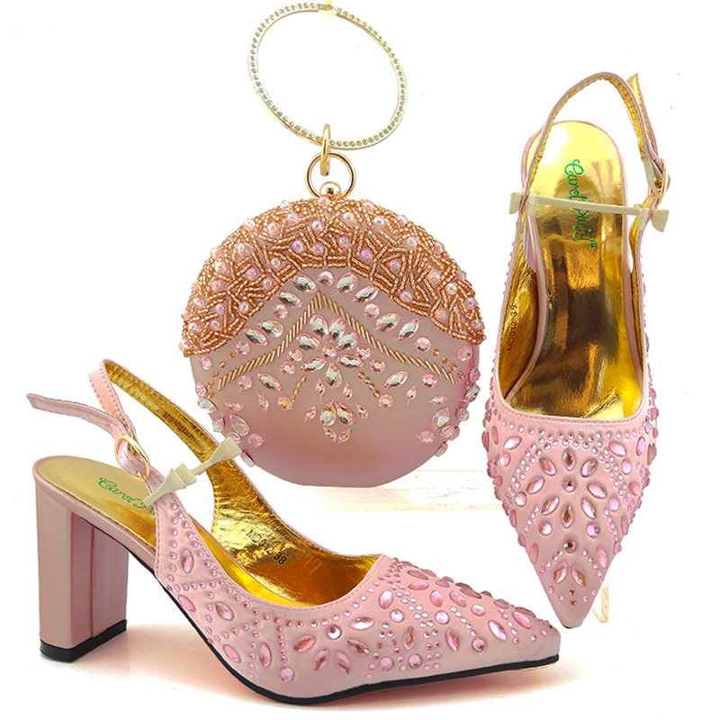 Fashion Women Pink Color Sandals And Bag Set To Match 9 cm High Quality African Shoes With Matching Bags For Wedding Party
