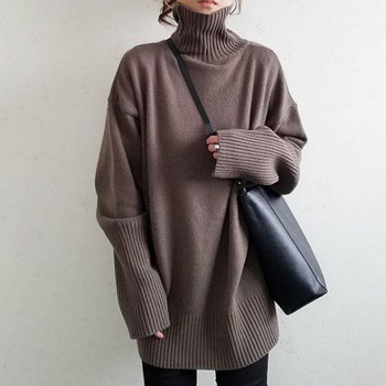 Turtleneck Knitted Sweater Women Spring Autumn High Neck Plain Korean Office Ladies Basic Jumpers Sweet Knit Wear Tops Pullovers