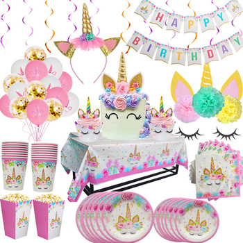 Rainbow Unicorn Birthday Party Disposable Tableware Set Serves 8 Kids Favor led light Baby Shower Decoration - discount item  20% OFF Festive & Party Supplies