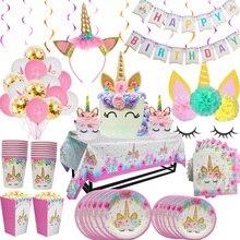 Tęczowa opaska jednorożec urodziny jednorazowe zastawy stołowe zestaw serwuje 8 dzieci przysługę jednorożec led light Baby Shower strona dekoracji