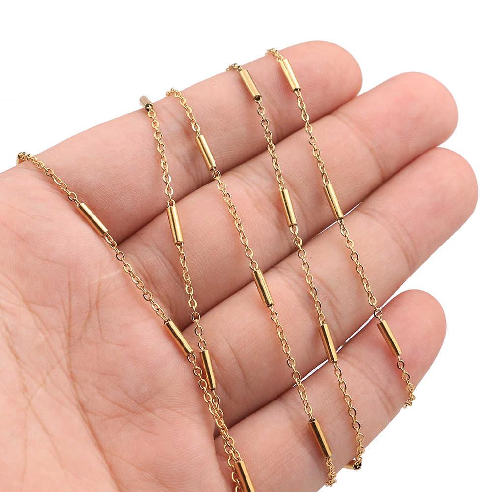 2 Meter Clip Perlen Rohr Edelstahl Kreuz Gold Kette für DIY Kabel Kette Halsketten Armbänder Schmuck Machen Zubehör