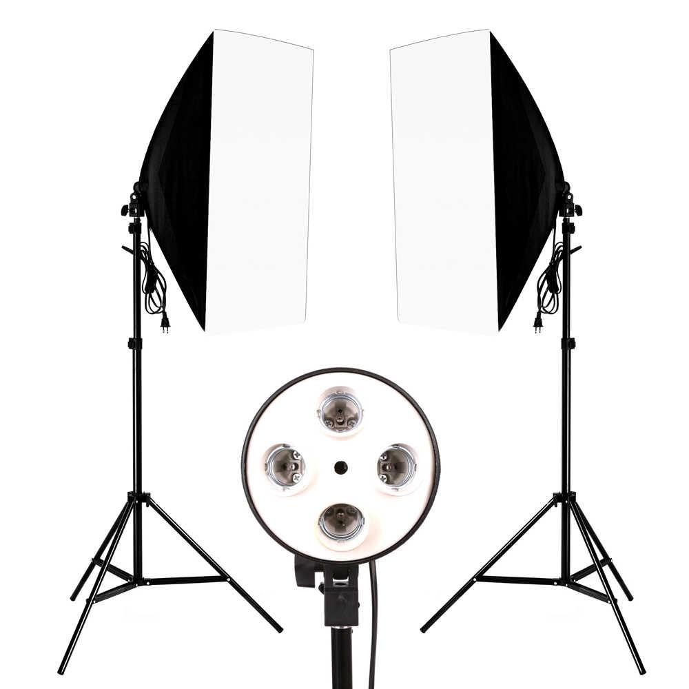 Photo Studio Softbox 50X70 Cm Diffuser 4 In 1 Soket E27 Lampu Pemegang 2M Light Stand Tripod photo Studio Kit untuk Fotografi Video