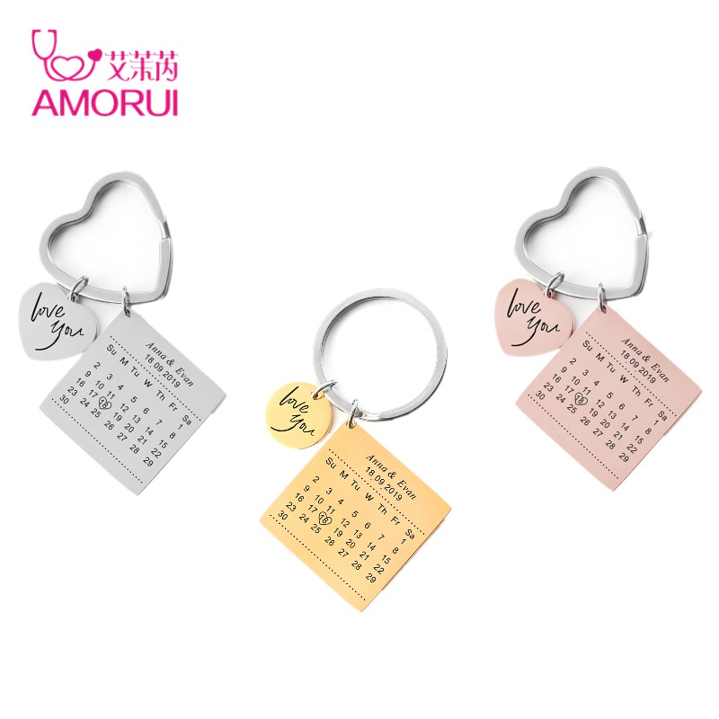 Personalized Calendar Keychain Stainless Steel Customized Calendar Anniversary Highlighted With Heart Custom Name Date Key Ring