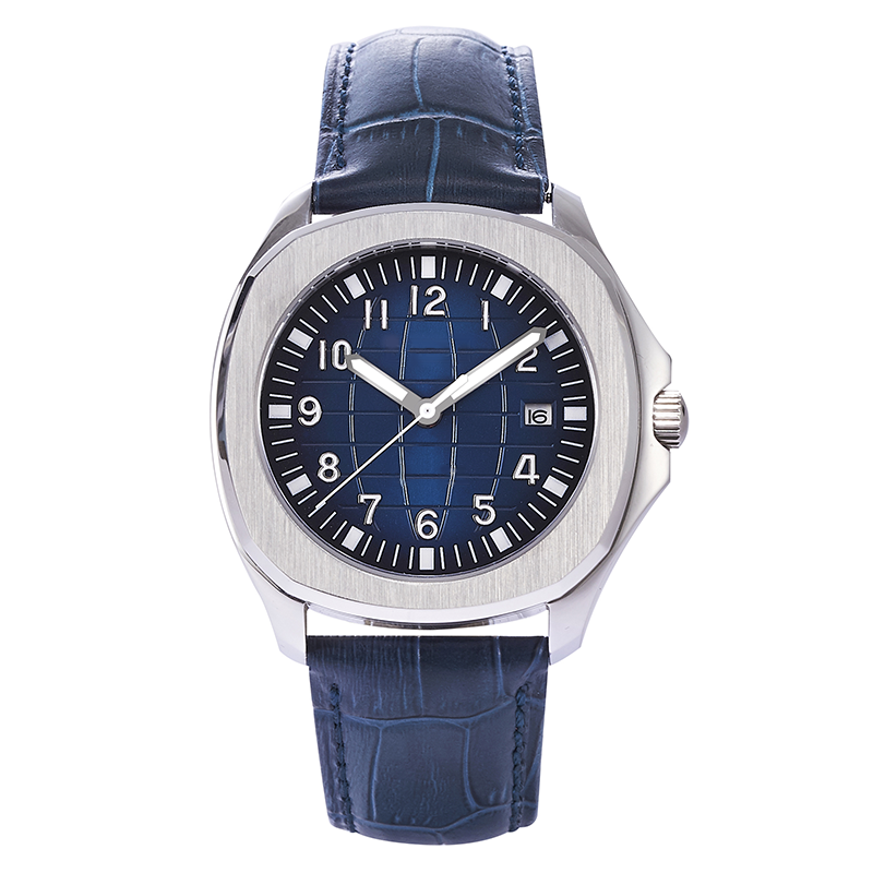 100m Water Resistant 40mm PHYLIDA Blue Men Aquanaut Homage Watch JAPAN MIYOTA Automatic Sapphire Crystal Leather Strap Luminous