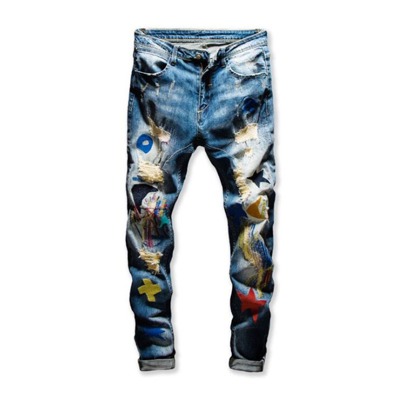 2020 New Men's Colored Patchwork Ripped Jeans Trendy Fashion Patch Design Embroidery Stretch Denim Pants Slim Straight Trousers