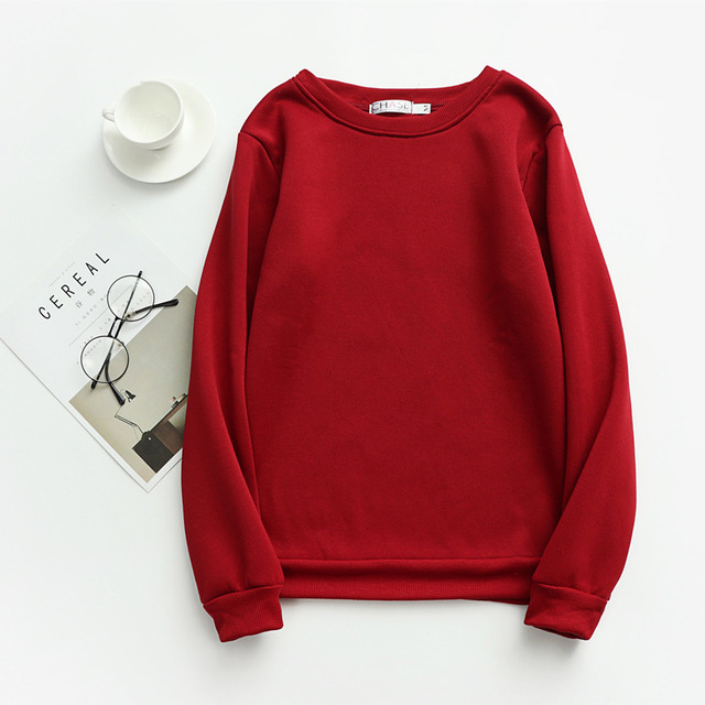 Women Solid Sweatshirts Korean Style Autumn Ladies Student Round Neck Long Sleeve Loose Pullover Tops WDC6301 3