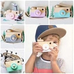 Mignon Style nordique suspendu en bois caméra jouets bébé enfants sûr naturel jouets éducatifs mode maison photographie accessoire décor cadeaux