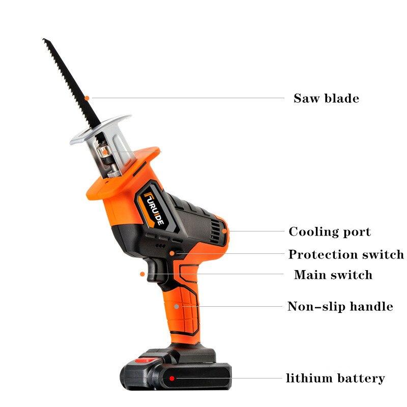 Scie alternative au Lithium chargeant le cheval électrique a vu le petit outil de scie à bois tenu dans la main extérieur de puissance élevée de ménage