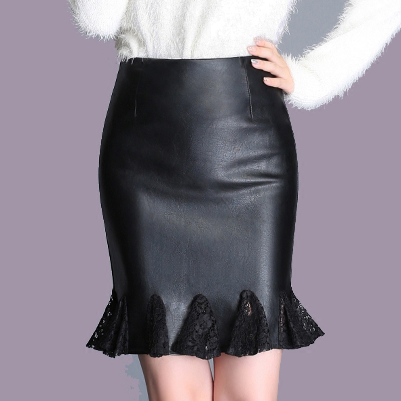 Plus Size Solid Empire Lace Splice Pu Spring Trumpet Woman Mermaid Skirts Female Oversized Leather Skirt Lady Above Knee Skirt