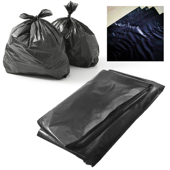 Black Flat Large Garbage Bag Extra Strong Heavy Duty Black Refuse Sacks Strong Thick Material Solid and Durable Rubbish Bags Bin image