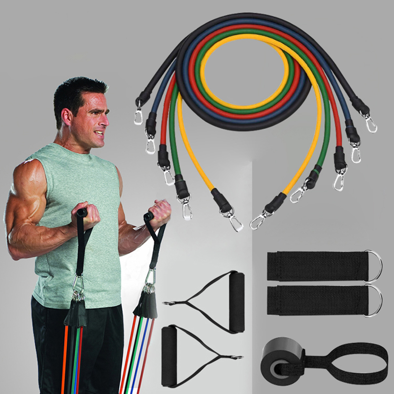Resistance Band 11pc Set TPE Elastic Bands With Door Anchor Ankle Straps Foam Handles Home Fitness Equipment Workout