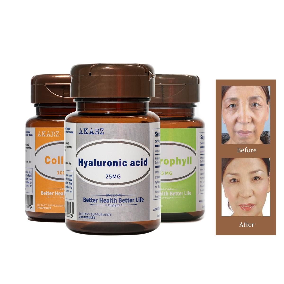 Super Wirkung anti-aging Sets AKARZ hyaluronsäure + Kollagen + Chlorophyll Natürliche Gesicht Körper Haut elastizität