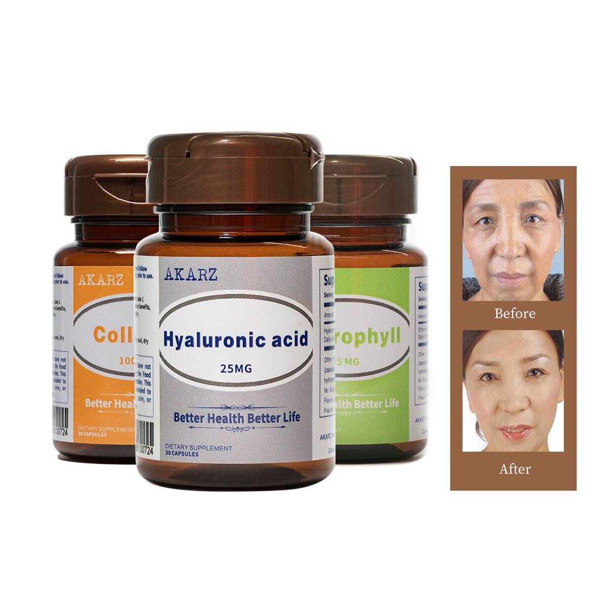 Super efecto anti-envejecimiento establece AKARZ ácido hialurónico + colágeno + clorofila cara Natural cuerpo la elasticidad de la piel