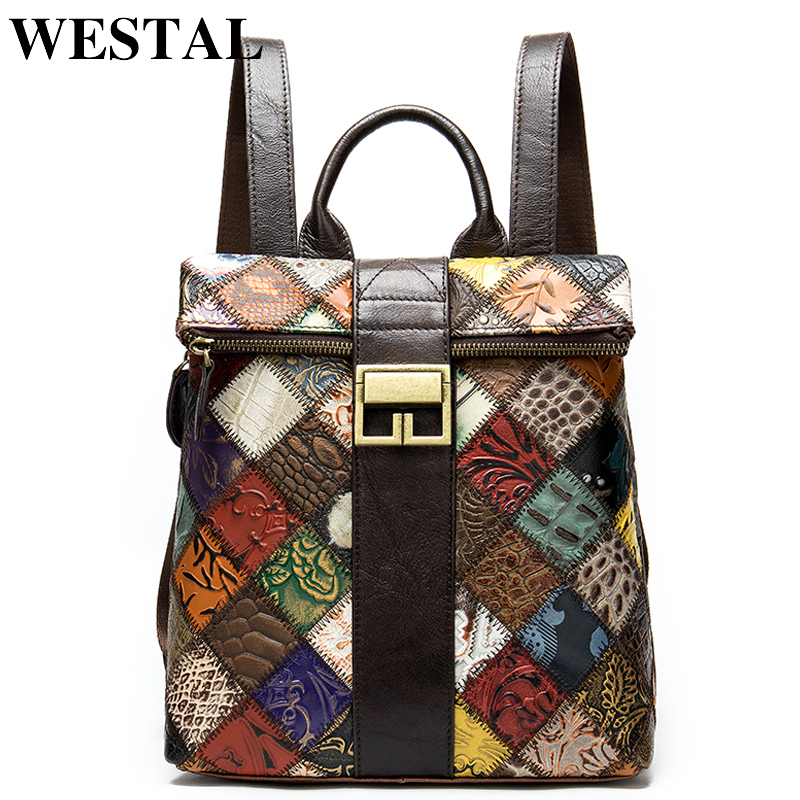 WESTAL Patchwork Women Backpack For Girls Women's Backpack Genuine Leather Mini Backpacks Female Schoolbag Girl Bagpacks  098