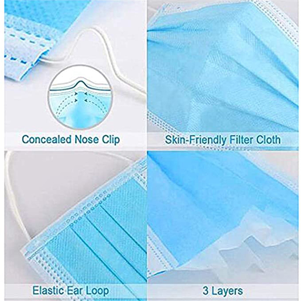 #H30 10/20/30/50 pcs 3-layer Breathable mask Face Mouth Masks Non Woven Disposable Masks Earloops Masks 1