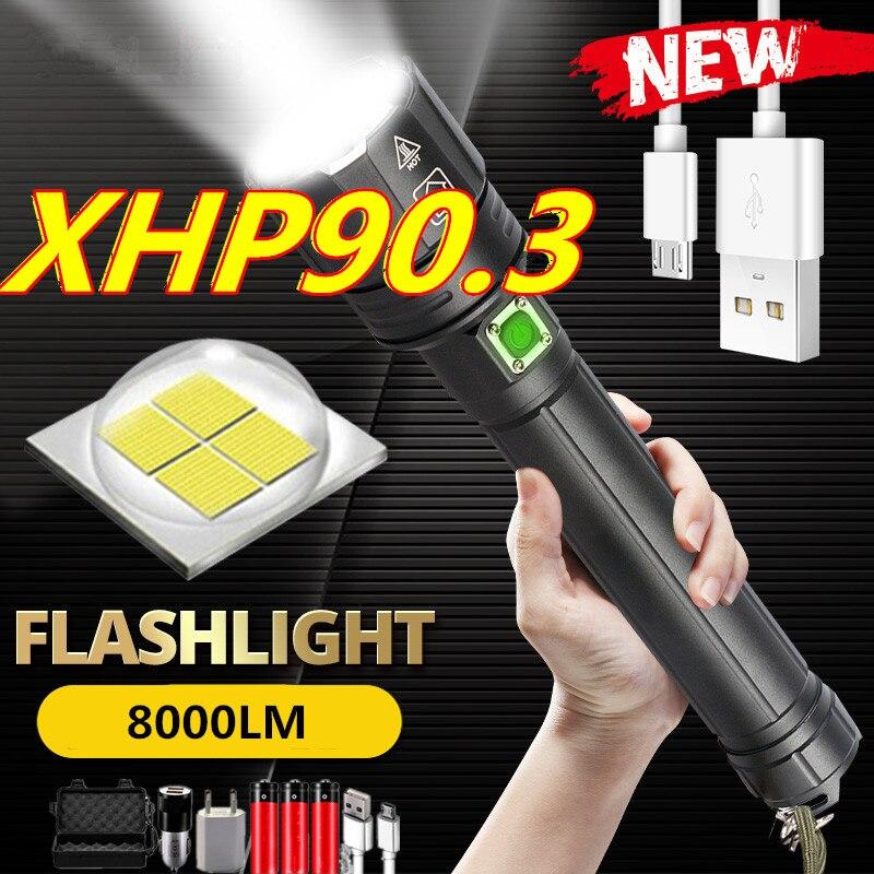 2021 новогодний подарок XHP90.3 ультра мощный 26650 светодиодный фонарик XLamp USB перезаряжаемый XHP70 тактический светильник 18650 масштабируемый фонарь...
