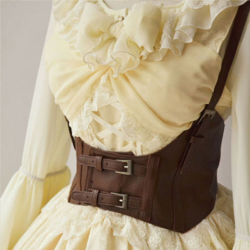 Brand New Vintage Women's Corset Vest Steampunk Harness Strechy Waistcoat Wide Cincher With Buckle Cummerbunds Cosplay Accessory