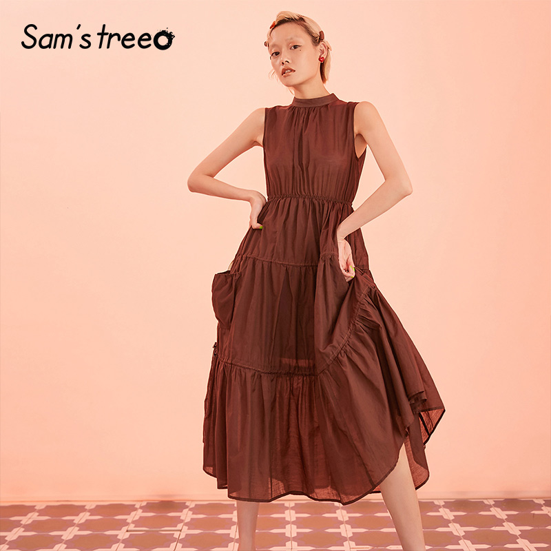 Samstree Brown Solid Ruffle Minimalist Style Tiered Layer Women Dresses 2019 Autumn A Line Elegant Sleeveless Female Dress
