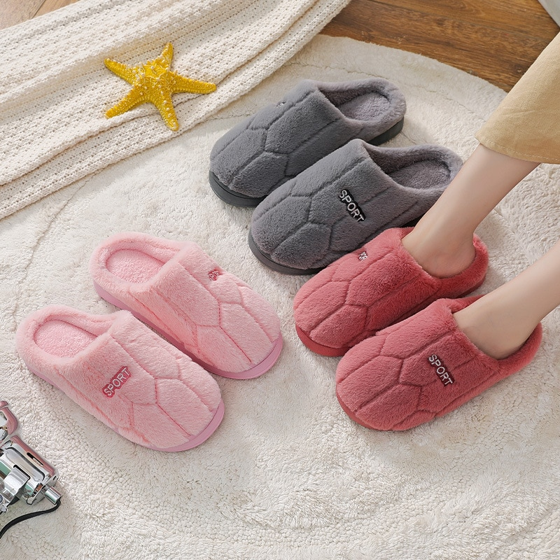 Women Warm Home Plush Slippers Couples Solid Color Winter Non-slip Floor House Slippers Soft Indoor Shoes For Man Bedroom Slides