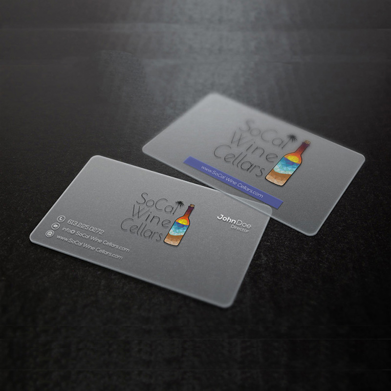 Custom Transparent Pvc Business Card Printing Office Supplies Plastic ID One-sided Print Visit Waterproof Round Corners Cards