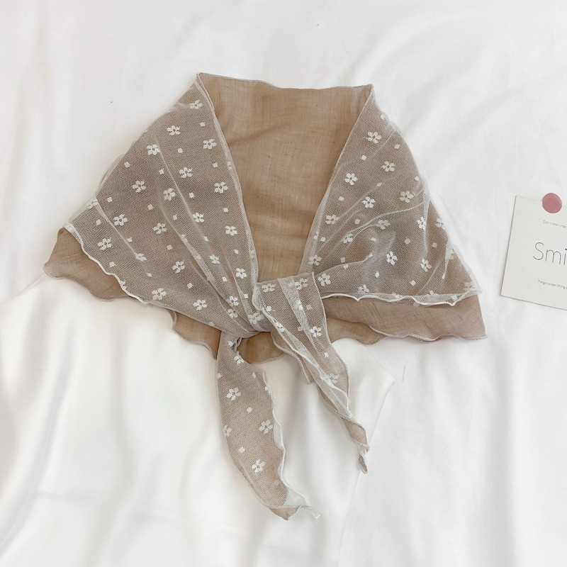 Ins French lace stitched cotton scarf women spring summer autumn scarf retro small scarf shawl triangle scarf