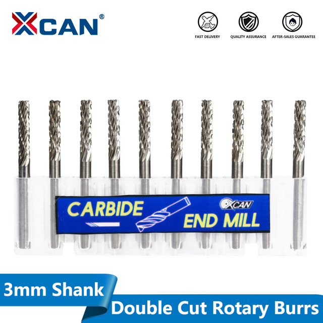 XCAN 10pcs 3mm Shank Double Cut Tungsten carbide Rotary Burr Sets For Dremel Rotary Tools Rotary File