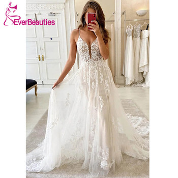 Vestido De Noiva Bohemian Lace Wedding Dress 2020 Tulle V-Neck Bride Dress Beach свадебное платье