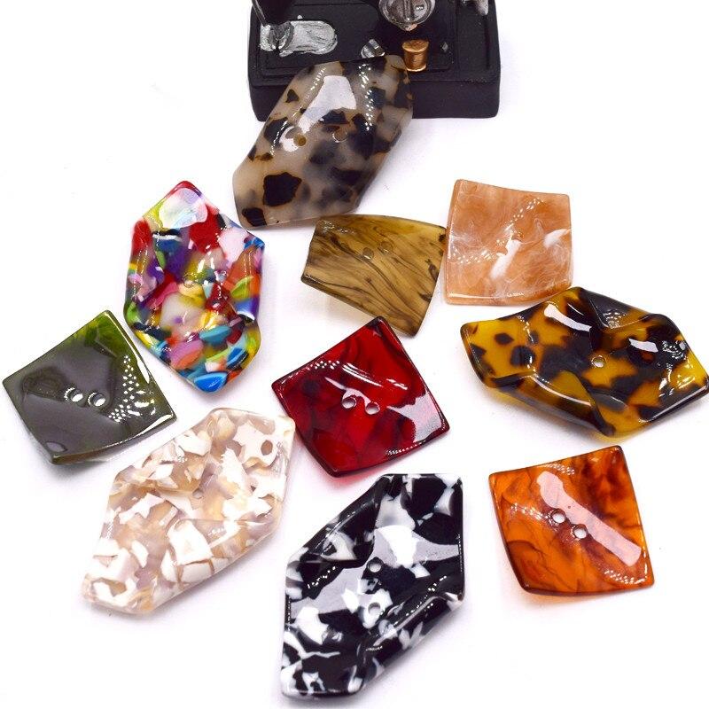 2 шт. креативные 2 отверстия кнопка смолы нерегулярные шитье большие квадратные пуговицы для одежды пальто одежды Швейные аксессуары