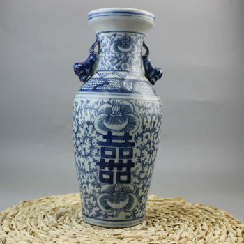 Chinese Old Porcelain Blue And White Double Happiness Painting Vases Home Decoration Accessory