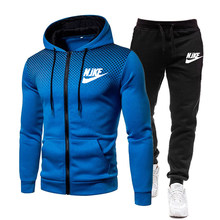 brand sports suit men's spring and autumn zipper hoodie + pants two pieces of casual track and field sportswear brand clothing