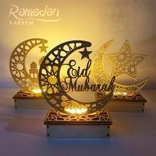 Artesanías de madera para decoración de Eid Mubarak, decoración de Ramadán y Eid para el hogar, suministros de fiesta musulmana islámica, Ramadán Kareem Eid Al Adha