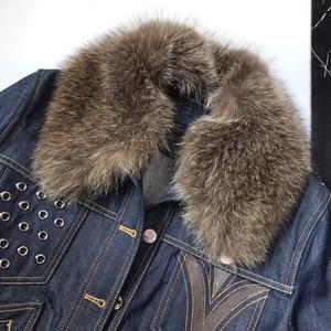 Image 3 - L160  Mink collar denim jacket rivet heavy industry winter highest version