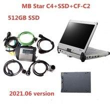 جهاز تشخيص نجوم MB عالي الجودة ذو 4 خصائص SD مع SSD مثبت CF C2 CF C2 I5 أداة تشخيص لشاحنات السيارات