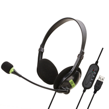 3.5mm USB Wired Headset With Microphone On Ear Stereos Surro