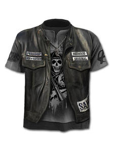 T-Shirt Skull Jacket Top Short-Sleeve Fake Print Trendy Summer Men/female New