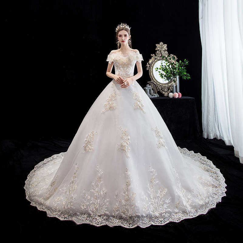 Mrs Win Wedding Dress 2020 Short Sleeve Elegant Boat Neck Court Train Ball Gown Princess Luxury Dride Dress Custom Size