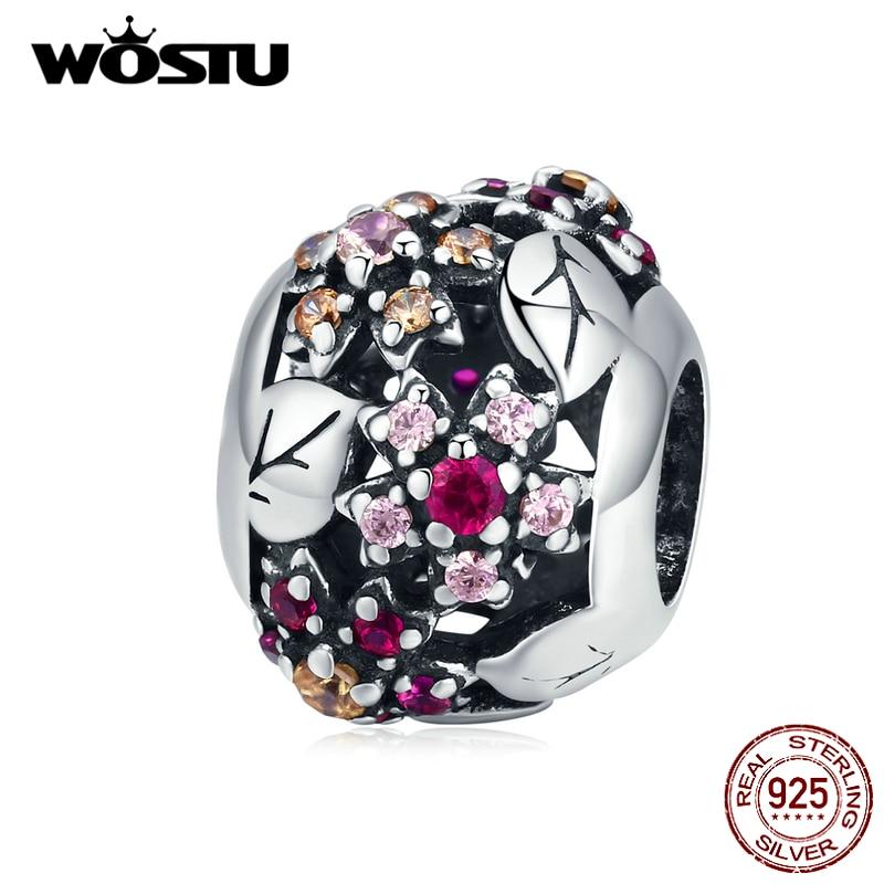 WOSTU 925 Sterling Silver Sakura Blooms Flower Charms Pink Zircon Round Beads Fit Original Bracelet Pendant Jewelry Gift CQC1446