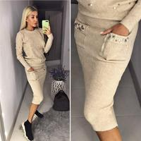 Woolen And Cashmere Knitted Warm Suit Pearl Beading Knitted Pullover Pencil Skirt Women Two Piece Knit Set